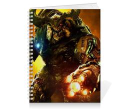"""Тетрадь на пружине """"Doom 4"""" - doom, шутер, дум, кибер демон, cyber demon"""
