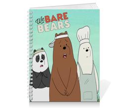 "Тетрадь на пружине ""We bare bears"" - панда, белый, медведи, гризли, we bare bears"