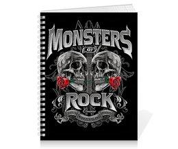 """Тетрадь на пружине """"МУЗЫКА. MONSTERS ROCK"""" - черепа, красота, эмблема, розы, стиль надпись логотип яркость"""