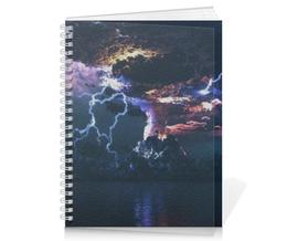 "Тетрадь на пружине ""Great Volcano"" - гроза, ночь, природа, вулкан, молнии"