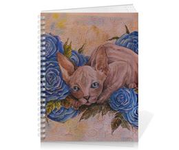 """Тетрадь на пружине """"Сфинкс в розах """" - кот, цветы, рисунок, сфинкс, синие розы"""