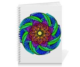 """Тетрадь на пружине """"Яркий цветок в этническом стиле"""" - цветы, этно, мандала, этнический, мехенди"""