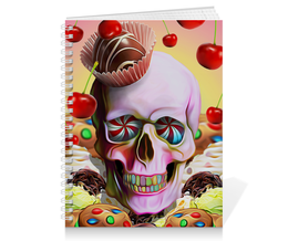 """Тетрадь на пружине """"Sweet Skull"""" - skull, череп, сладости, печенье, пирожное"""