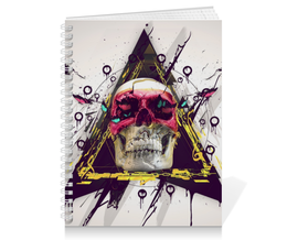 "Тетрадь на пружине ""Skull in triangle"" - skull, череп, swag, иллюминаты, illuminati"