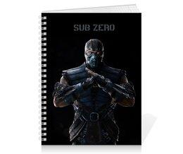 "Тетрадь на пружине ""Тетрадь Mortal Kombat X (Sub-Zero)"" - воин, mortal kombat, компьютерная игра, драка, sub-zero"