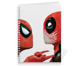 "Тетрадь на пружине ""Дэдпул (Deadpool)"" - комиксы, spider-man, марвел, человек-паук, дэдпул"
