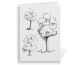 """Тетрадь на пружине """"Сказочный лес"""" - рисунок, деревья, природа, иллюстрация, скетч"""
