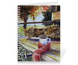 """Тетрадь на пружине """"Осеннее тепло"""" - кот, осень, чай, осенний парк"""