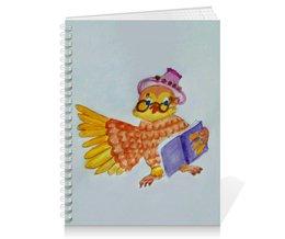 """Тетрадь на пружине """"Умная Сова"""" - очки, книжка, умная, сова"""