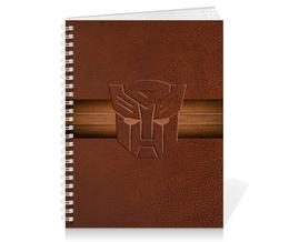 """Тетрадь на пружине """"Transformers"""" - деловой стиль, transformers, трансформеры, кожанный"""