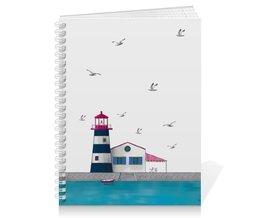 """Тетрадь на пружине """"Lighthouse"""" - лето, море, маяк, лодка, чайки"""