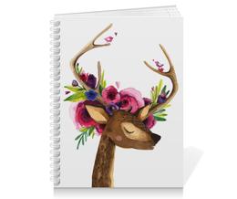 """Тетрадь на пружине """"Олень с цветами в рогах"""" - цветы, олень, акварель, рога, олененок"""