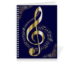 """Тетрадь на пружине """"музыка"""" - скрипичный ключ, красота, стиль, ноты"""