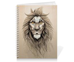 "Тетрадь на пружине ""Лев  "" - арт, лев, lion"