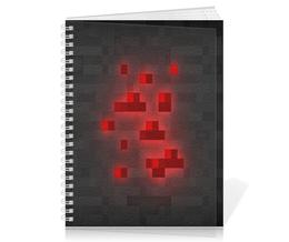 """Тетрадь на пружине """"Redstoune"""" - серый, чёрный, красный, minecraft, майнкрафт"""