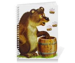 """Тетрадь на пружине """"Медвежонок с медом"""" - медведь, рисунок, россия, мед, пчелы"""