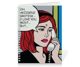 """Тетрадь на пружине """"Phone Girl"""" - девушка, girl, комикс, ретро"""