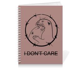"""Тетрадь на пружине """"I don't care"""" - любовь, арт, рисунок, хорьки, колючая проволока"""