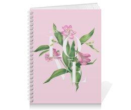 "Тетрадь на пружине ""With love"" - любовь, цветы, pink, акварель, watercolor flowers"