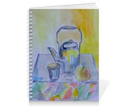 "Тетрадь на пружине ""На кухне"" - стакан, чай, яблоко, чайник"