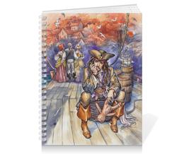 """Тетрадь на пружине """"Капитан Джек Воробей."""" - арт, пират, джек воробей, пираты карибского моря"""