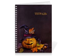 """Тетрадь на пружине """"Хэллоуин"""" - хэллоуин, тыква"""