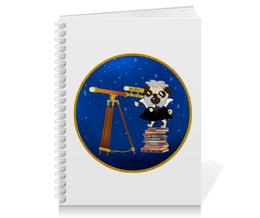 "Тетрадь на пружине ""Мопс. Астроном. Мопсилео Мопсилей"" - юмор, звёзды, мопс, астрономия, галилей"