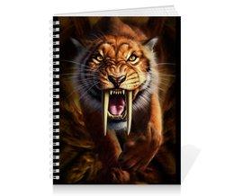"""Тетрадь на пружине """"ТИГРЫ ФЭНТЕЗИ"""" - хищник, животные, саблезубый тигр, стиль эксклюзив креатив красота яркость, арт фэнтези"""