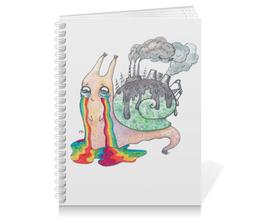 """Тетрадь на пружине """"Защита окружающей среды. Эко-улитка """" - арт, радуга, улитка, милая, экология"""