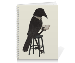 "Тетрадь на пружине ""Читающий ворон"" - черный, птица, ворон, книга"