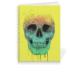 "Тетрадь на пружине ""Череп"" - skull, череп, поп арт, pop art"