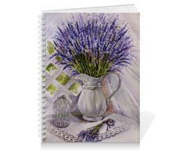 "Тетрадь на пружине "" Лаванда на столе "" - цветы, рисунок, лаванда"