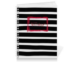 """Тетрадь на пружине """"Полосатая с красной рамочкой"""" - черный, красный, минимализм, полосатый, полоски"""