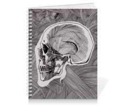 "Тетрадь на пружине ""Череп"" - skull, череп, арт, линии, stripes"
