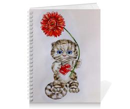 """Тетрадь на пружине """"Котёнок с герберой"""" - кот, цветы, рисунок, котёнок, гербера"""