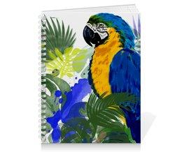 """Тетрадь на пружине """"Попугай в тропиках"""" - птицы, природа, попугай, тропические листья, попугай ар"""
