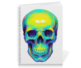 "Тетрадь на пружине ""Colorfull skull"" - skull, череп, поп арт, pop art"