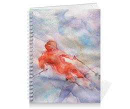 """Тетрадь на пружине """"Экстрим. Горные лыжи."""" - экстремальный спорт, картина акварелью, лыжник, красный, снег"""