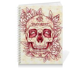 "Тетрадь на пружине ""Santa Muerte skull"" - skull, череп, смерть, санта муерте"