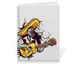 """Тетрадь на пружине """"Зомби с гитарой"""" - zombie, зомби, star wars, барды, блюзмен"""