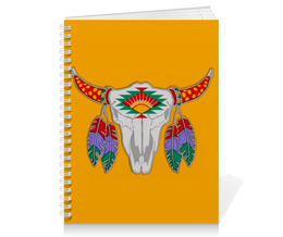 "Тетрадь на пружине ""Этнический бык"" - 23 февраля, желтый, этно, бык, bull"