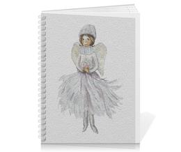 """Тетрадь на пружине """"Снежный Ангел """" - рисунок, ангел, крылья, зима, новый год"""