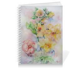"""Тетрадь на пружине """"Солнечная мальва"""" - цветы, цветок, нежный, акварель, живопись"""