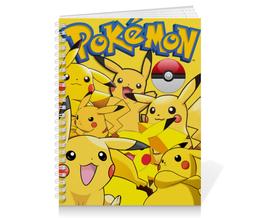"Тетрадь на пружине ""Pokemon Go"" - арт, покемон, пикачу, желтый, покебол"