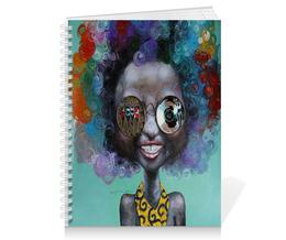 """Тетрадь на пружине """"девушка арт"""" - арт, девушка, рисунок, очки, цветная"""