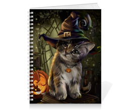 "Тетрадь на пружине ""кошки фэнтези"" - котенок, шляпа, тыква, красота, стиль"