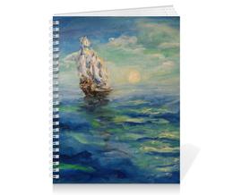 """Тетрадь на пружине """"Парус"""" - море, красота, волны, корабль, надежда"""