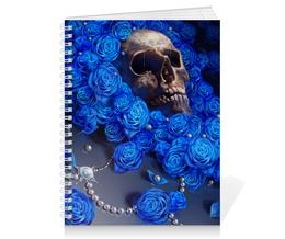 """Тетрадь на пружине """"Череп"""" - skull, череп, цветы, смерть, розы"""