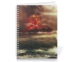 """Тетрадь на пружине """"Volcanic Eruption """" - море, фотография, путешествия, извержение, вулкан"""