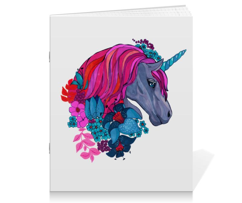 Printio Единорог с розовыми волосами в цветах цена и фото